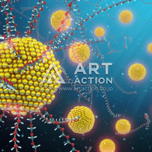 カバーピクチャー 金分子 科学 イラスト 3DCG