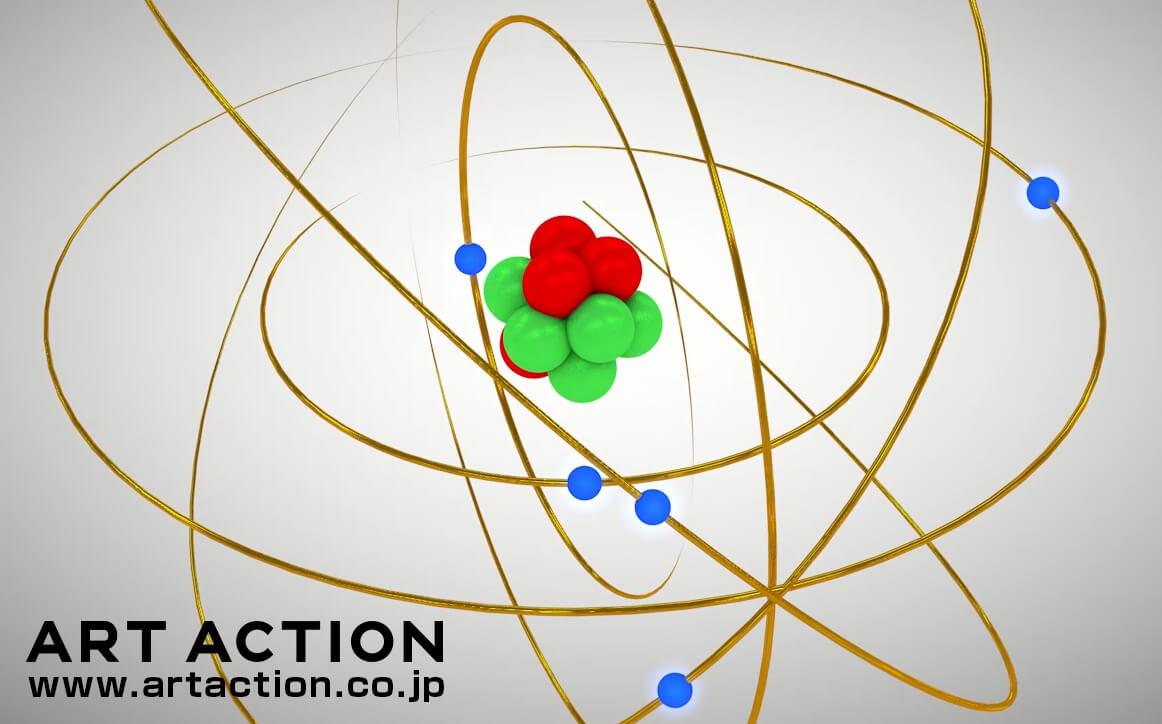ラザフォードの原子模型 科学イラスト CG